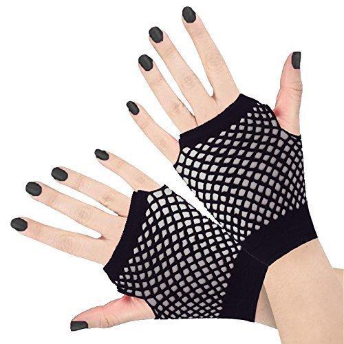 Preisvergleich Produktbild Runway Splash - Damen Frauen Kurze Fischernetz Kostüm 1980er Neon Handschuhe Punk Rave - Einheitsgröße,  Schwarz