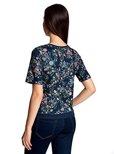 oodji Collection Damen Sweatshirt aus Strukturiertem Stoff mit Kurzen Ärmeln Blau (7970F)