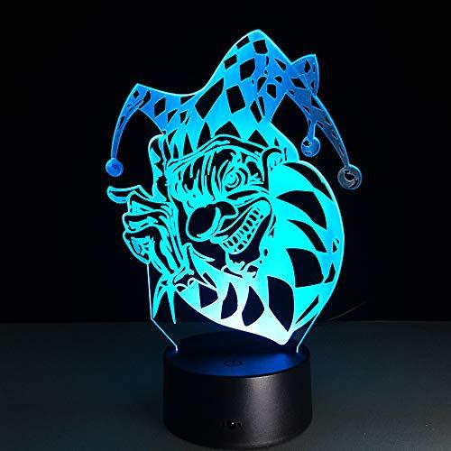 3D Clown Led Nachtlicht Neuheit 7 Farben Ändern Acryl Bunte Farbverlauf Atmosphäre Illusion Lampe Halloween Weihnachtsgeschenk