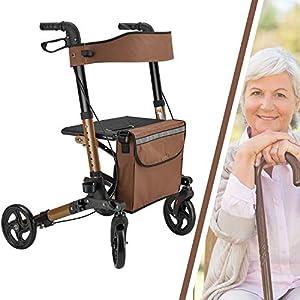 Juskys Aluminium Rollator Vital klappbar & leicht   6-fach höhenverstellbar   Gehhilfe mit Sitz, Bremse und Tasche   130 kg   braun