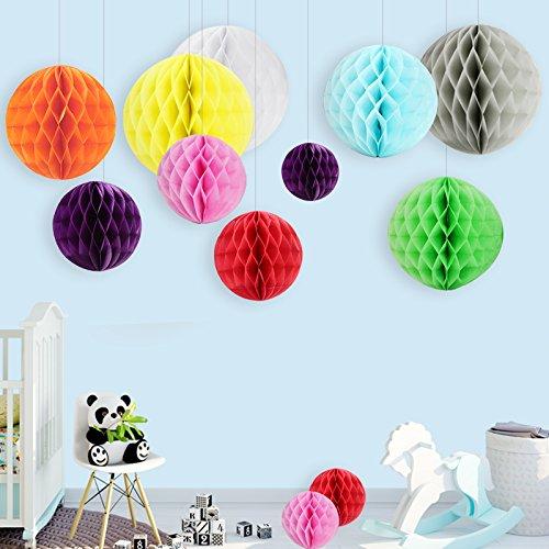12x Wabenbälle Mini Honeycomb Ball Pompoms Papier Dekoration Partydekoration für Hochzeit Baby Shower Geburtstag - 9 Farbe (Ball Dekoration)