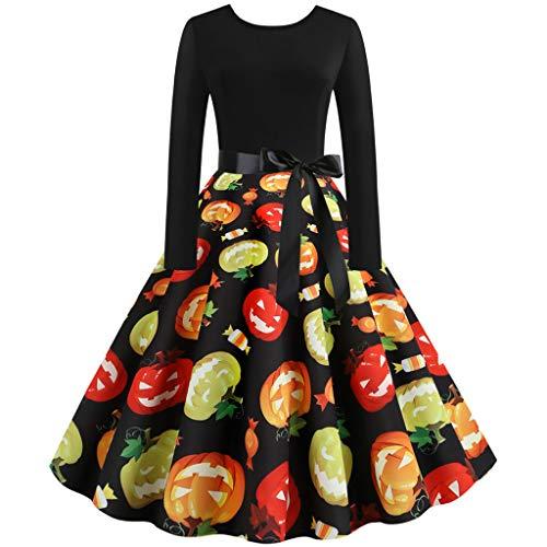 kolila Halloween Kleid Sale 1950s Vintage Swing Kleider Langarm Rundhals Kürbis Druck Halloween Abend Party Kleider