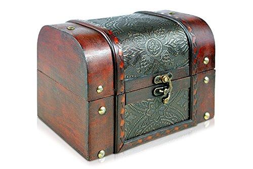 Piratenschatztruhe Holz-Ledertruhe, Schatzkiste groß L 18cm, B 13cm, H 13cm