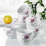 12pcs Service à Thé Service à Café Porcelaine 6pcs Mug Tasse 190ml avec 6pcs Soucoupe Sous-tasse Céramique Design Mode Fleur Rose