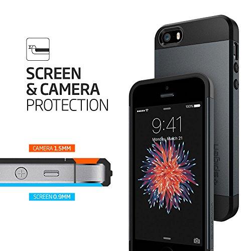 iPhone SE Hülle, Spigen® iPhone 5S/5/SE Hülle [Slim Armor] Dual-Layer Schutz [Dunkelblau] Luftpolster-Technologie an den Kanten / 2-teiliges Case Schutzhülle für iPhone SE, iPhone 5S, iPhone 5 - Metal Metal Slate black