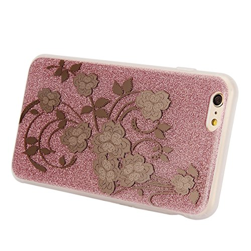 iPhone 6 6S Coque Housse Etui, iPhone 6 Rose Coque en Silcone Clair Ultra-Mince Etui Housse avec Glitter Diamant, iPhone 6S Silicone Coque Pink Slim Transparent Soft TPU Bumper Case with Bling Diamond Rose-Rose#