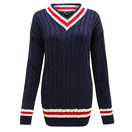 Islander Fashions Womens Long Sleeve Kabel Cricket Jumper Damen V-Ausschnitt Sport Strickjacke Navy X Large (Long Womens Kabel Sleeve)