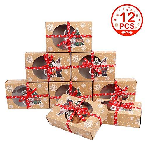 OurWarm 12 pezzi Scatole per biscotti di Natale con finestra trasparente, 2 scatole regalo in carta stile per regali di Nat