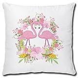 TRIOSK Kissen Flamingo Liebe, Geschenk Frauen Freundin Mädchen, Dekokissen Bezug inkl. Füllung Reißverschluss, Weiß Rosa Pink, 40x40 cm