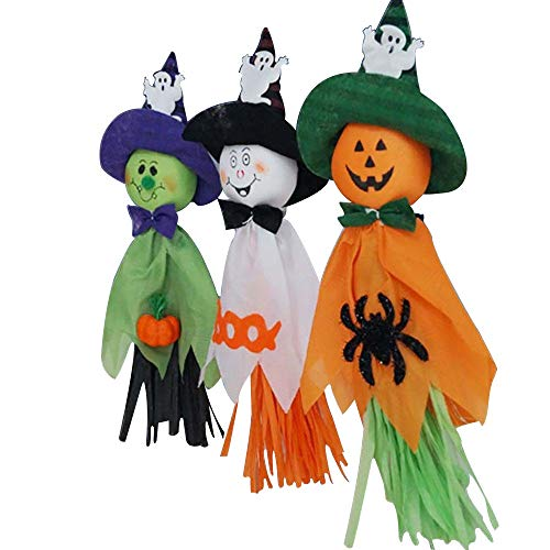 3Pcs Halloween Ghost Hängende Dekorationen Stroh, Dekoration Requisiten 3 Arten Puppe Lanyard für Dress Up Halloween Party Zuhause Bars KTV und Supermarkt Orange Weiß Grün. Praktisch