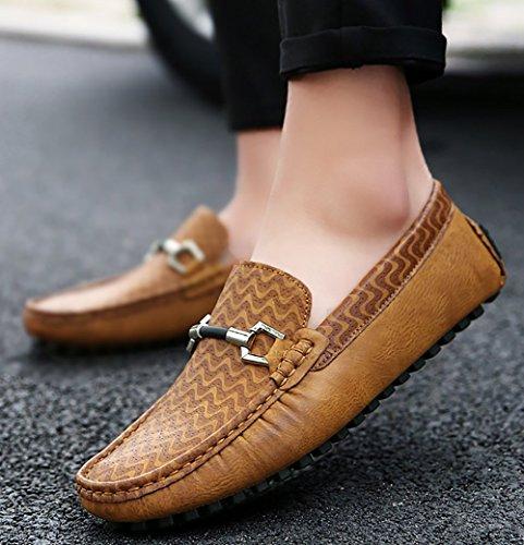 Odema hommes Chaussures de course en cuir PU Slip-on Mocassins Flat Loafer Jaune
