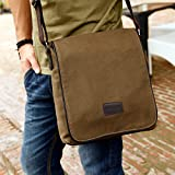 Eshow Mens Messenger Shoulder Bags Canvas Flap Bags Satchel Casual Cross Body Everyday Bags for Business School Daily Use Brown