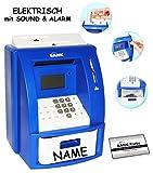 alles-meine.de GmbH elektrische Spardose -  Geldautomat - incl. Name  - blau - mit Sound + PIN Geldkarte + Sparzähler + Alarm Funktion + Zählfunktion / Stabile & Digitale Sparb..
