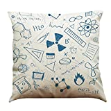 45cm*45cm Decorative Pillow Cases,Kingko® Mathematics Chemistry Subject Style Printed Linen Material Waist Throw Pillowcases Bedding Sofa Car Office Cushion Cover (A)