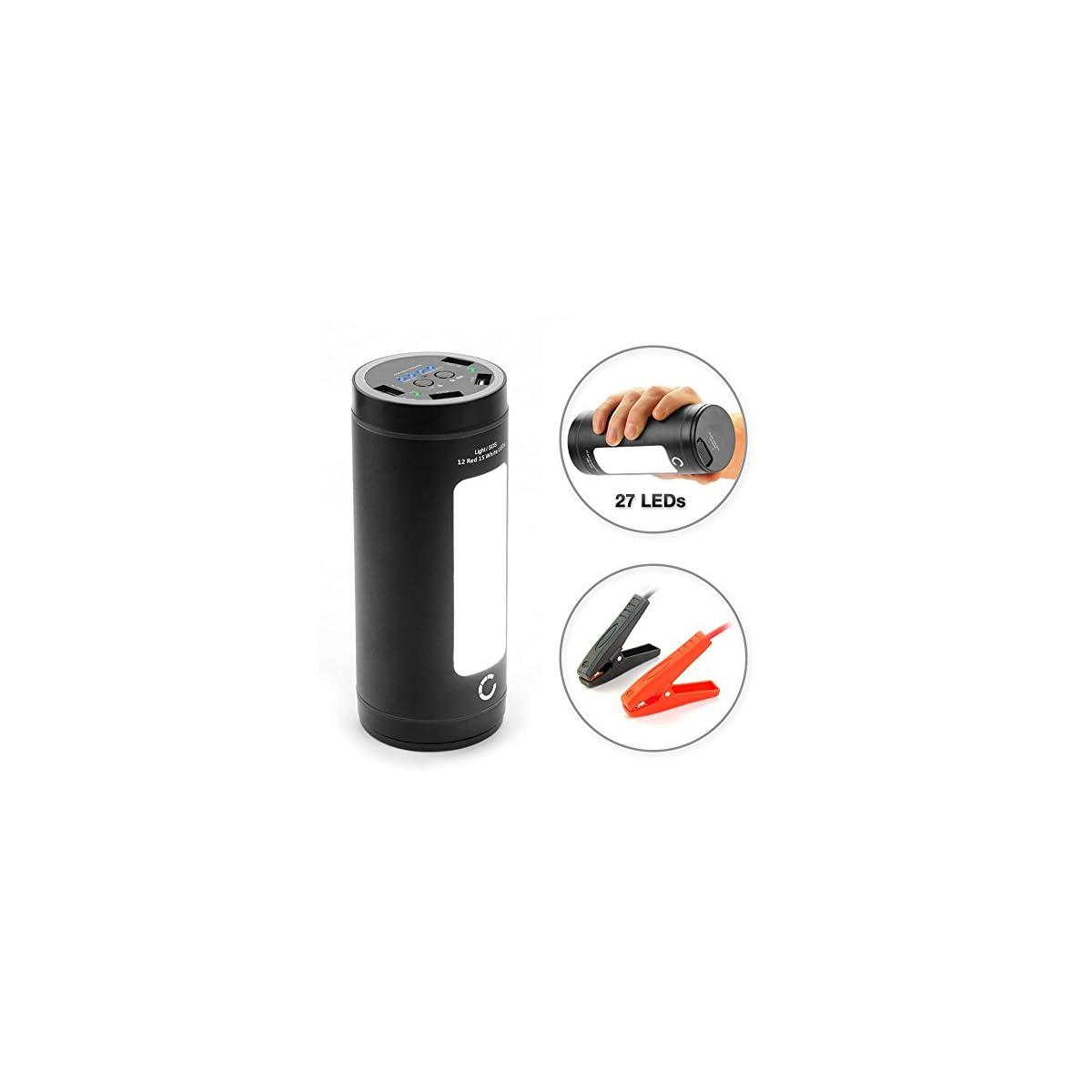 51aM1HbgP3L. SS1200  - CELLONIC® 12V Arrancador de Coche, Jump Starter - 4en1: 12000mAh Powerbank (4X USB, 5A MAX.), Panel LED, Función calefacción - Batería Externa, USB Cargador batería vehículos, Arrancador de Autos