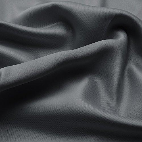 Beautissu Blackout-Vorhang Amelie mit Ösen – 140×245 cm Anthrazit (Grau) Uni – Verdunklungsgardine Ösenschal Blickdicht - 3
