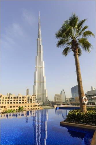 Unbekannt Leinwandbild 80 x 120 cm: Pool und Burj Khalifa von Amanda Hall/Robert Harding - fertiges Wandbild, Bild auf Keilrahmen, Fertigbild auf echter Leinwand, - Pool Hall Bilder