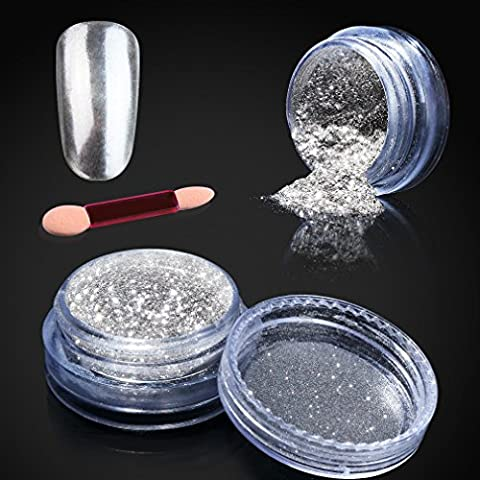 Elite99 Kit de 1 Boîte de Poudre Clou Paillettes Brillant Ongles Miroir - Poudre Effet Miroir Paillette des Ongles Manucure Nail Art Chrome Pigment (Couleur en argent*1g + Coton-tige gratuit)