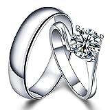 Sorpresa Brillante Auténtico Diamante Sólido 14K Oro blanco Boda Compromiso Promesa Moda Pareja Anillo para Hombres and Mujer Con GIA Certificado(0.20cttw,G-H Color,VS-SI1 Claridad)