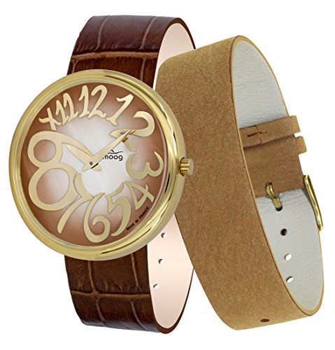 Moog Paris Ronde Art-Deco Women's Watch with Brown Mother of Pearl Dial, Brown Strap in Genuine Leather - M41672-F31