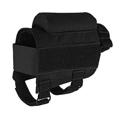 Neu Jagd Taktische Gewehrschafttasche Gewehr Munition Rest Halter Tasche, verstellbar für Rechte/Linke Hand ButtstockTaktische Shell Holder Pouch Gewehrschaft-Tasche YUEWO (schwarz) -