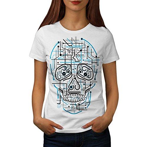 Kopf Gesicht Platte Schädel Damen S-2XL T-shirt | Wellcoda White