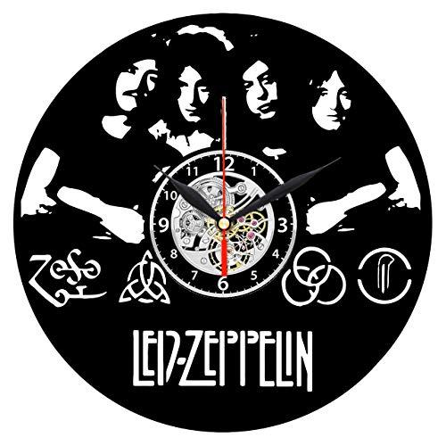 EVEVO LED Zeppelin Wanduhr Vinyl Schallplatte Retro-Uhr groß Uhren Style Raum Home Dekorationen Tolles Geschenk Wanduhr LED Zeppelin