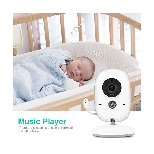 Baby Monitor with Camera, BOIFUN with 3.2'' LCD Screen 300 Meters 2.4Ghz Wireless Stable Connection Rechargeable Battery VOX Night Vision Temperature Monitor Two-Way Talk Baby/Elderly/Pet BOIFUN 🐻 【Fantastic Picture even in Night Vision Mode】 --- Clear picture quality, even in night vision mode, you can see the baby's subtle movements, intellegent infrared night vision, 2-5 meters distance, automatically switch to night vision mode when the light drops, automatically recover after the light is brightened. 🐻 【Highly clear Two-Way Talk Quality】 --- High quality sound and real time two way talk, Respond promptly when your baby needs you, let the baby know that you are always with him. 🐻 【Enhanced temperature monitoring】---Real time and precise baby monitor sensor, the error does not exceed 1°C. It is our responsibility to help you know the temperature of your baby's room and assist you keep baby comfortable at all time. 4