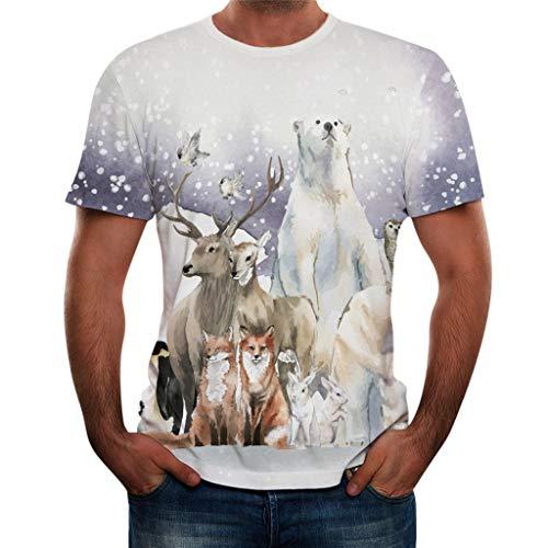 UINGKID Herren T-Shirt, Kurzarm Top Shirt Schlafanzugoberteil Sommer Mode Rundhals Personalit Print Freizeit Bluse -