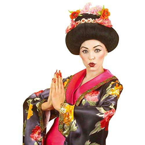 Amakando Geisha Perücke Japanerin Damenperücke Asiatin Kunsthaarperücke Chinesin Hairstyle Cosplay Zubehör (Erwachsene Schwarze Geisha Perücke)