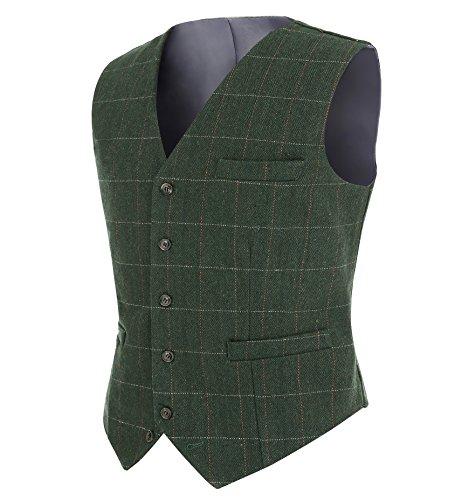 Lovee Tux Plaid Suit Weste für Männer Wolle Tweed Casual Slim Fit Weste Formale Business Weste(XL,Grün) -
