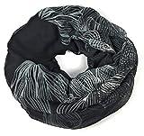 floraler Muster Schal Loop Halstuch Schlauchschal Rundschal Tuch Damen Women schwarz/weiß/grau
