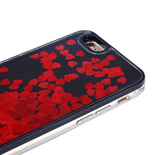 iPhone 7 Custodia,iPhone 7 Cover, JAWSEU 3D Creativo Disegno Lusso Fluente liquido Sparkle Glitter Bling Amore cuore lustrino Protettiva Case Rigida Nero Copertura per iPhone 7 4.7 Scintillare Scintil Bling Rosso Amore cuore