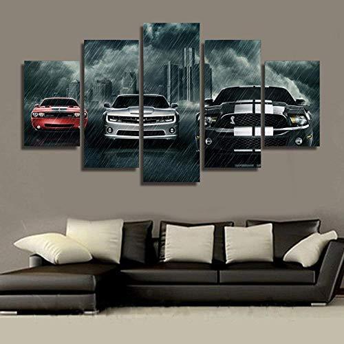 r Dekoration 5 Stücke Film Muscle Auto Malerei Wohnzimmer Wandkunst Sportwagen Bild Modulare Rahmen 200X100 cm ()