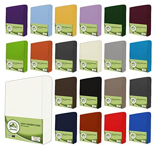 leevitex® Jersey Spannbettlaken, Spannbetttuch 100% Baumwolle in vielen Größen und Farben MARKENQUALITÄT ÖKOTEX Standard 100 | 140 x 200 cm - 160 x 200 cm - Weiß