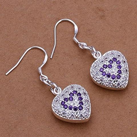 Inlay Herz Ohrringe - Lila Diamant Silber Herzform Einfach Zircon Ohrringe Frauen / Edelstahl / Antiallergic / Silber Glanz / Klein und Fein,Zahl