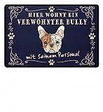 Hochwertige Fußmatte - Hier wohnt ein verwöhnter Bully Fußmatte mit seinem Personal | French Bulldog | Französische Bulldogge