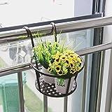 Aufhängen Balkon Übertopf zum Aufhängen Pflanzschalen Blumentöpfe durch Halterung für Verwendung auf Balkonen, Zäunen, Single Brick Wand oder Reling, roségold