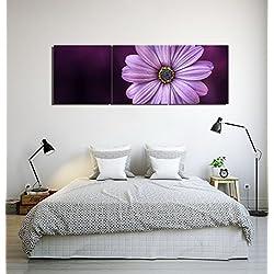 Margaritas,púrpura,flores plantas_Cuadro de pintura al óleo moderna Impresión de la imagen en la lona Arte de la pared para la sala de estar,Dormitorio,decoración del hogar,3 piezas 40x40,con marco