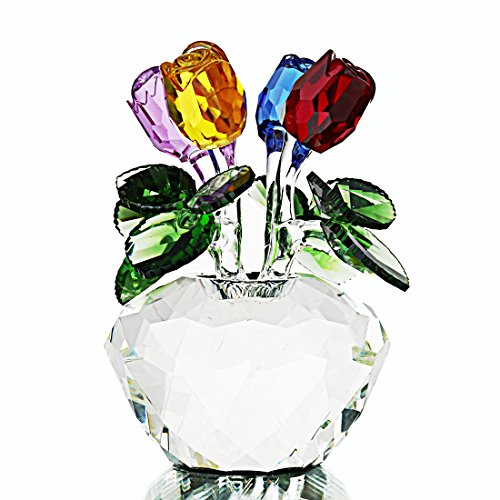 H & d multicolore rose figurine ornament spring bouquet di fiori di cristallo in confezione regalo