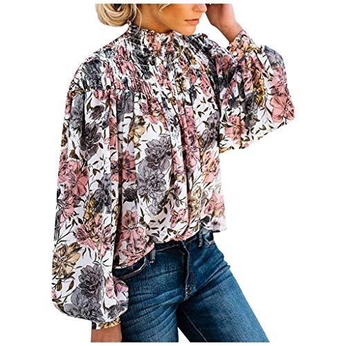 Splrit-MAN Damen Hemd Langarm Bluse Frauen Elegant Blume Button-Down Hemd Casual Tops Stehkragen Oberteile Langarmshirts Herbst Bluse (Tardis Kostüm Mädchen)