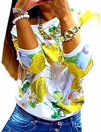 QIYUN.Z Femmes Dhiver/Automne Rose Imprime Hoddies T-shirt Manches Longues En Coton Melanges