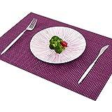 Addfun®Tischsets, Prämie Waschbar Hoch Qualität Rutschfest Isolierung PVC Tischsets für Esstisch(Lila, 6er Set)