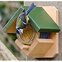CJ Wildlife 983331215 Gartenvögel-Erdnussbutterhaus aus FSC-Holz mit Erdnussbutter - empfohlen vom NABU und dem LBV