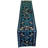 Tischdecken Blumen-Karten-Tabellen-Flaggen-Marine-Blau-Plüsch-Retro- Art- und Weiseeinfaches nordisches Kaffee-Bett-Hochzeits-Hotel-Bankett-Dekoration 30cm * 160cm (größe : 220cm)