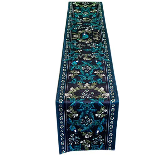 Unbekannt Blumen-Karten-Tabellen-Flaggen-Marine-Blau-Plüsch-Retro- Art- und Weiseeinfaches nordisches Kaffee-Bett-Hochzeits-Hotel-Bankett-Dekoration 30cm * 160cm MUMUJIN (Size : 180cm)
