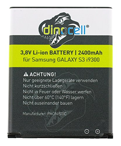 Dinocell® MADE Batteria 2400mAh di ricambio per originale Samsung Galaxy S3, GT-i9300, GT-i9305, S3 NEO, senza NFC, come EB-L1G6LLU, NUOVO