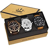 LimeStone Speed Series Japanese Casual Analog Multicolour Leather Strap & Stainless Steel Strap Multicolour Dial Men's / Boy's Watches Combo (Pack of 3)