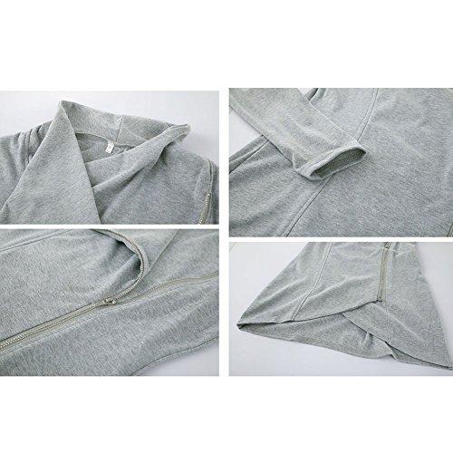 Donna Tinta Unita Felpe Orlo Asimmetrico Pullover con Decorazione a Zipper Manica Lunga Slim Autunno Inverno Moda Casual Cappotto Pull Giacca S-XL Grigio