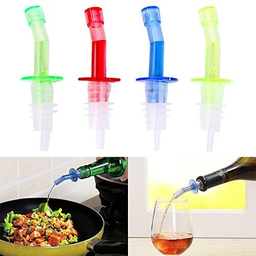 Juego de 4 botellas de bebidas de licor con tapón para botella de vino, dispensador de vino líquido para salsas, vino, aceite, aceite, aceite, café, jarabe o vinagre, plástico, multicolor, Medium